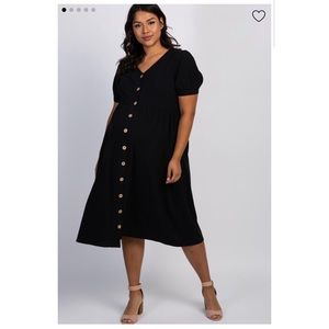 Maternity Midi Dress Button Front Short Sleeve